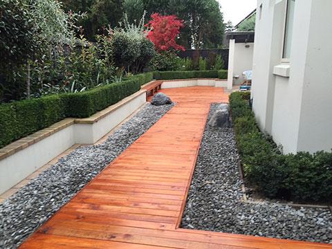 planting, stone pathways, earthworks